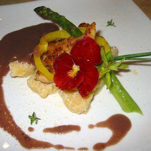Chicken Tenders, Gnocchi, Asparagus, Chestnut Sauce