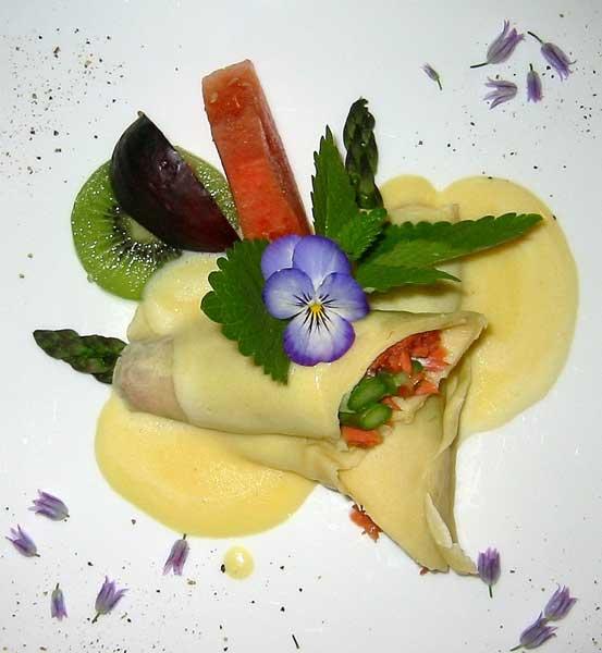 Sockeye Salmon & Asparagus Crepe, Chantilly-Sauce